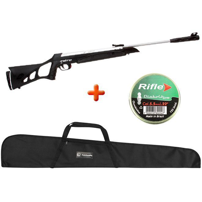 Carabina de Pressão Cbc Nitro X 1000 Cromada 5.5mm+ Capa Simples + Chumbinho + kit limpeza