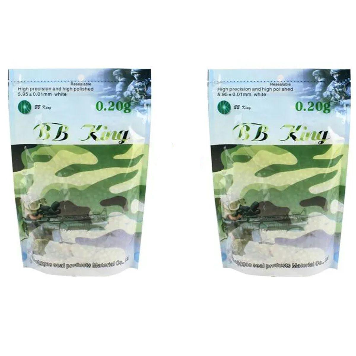 Kit 02 Sacos De Bbs Airsoft Munição Plástica Bb King 0.20g