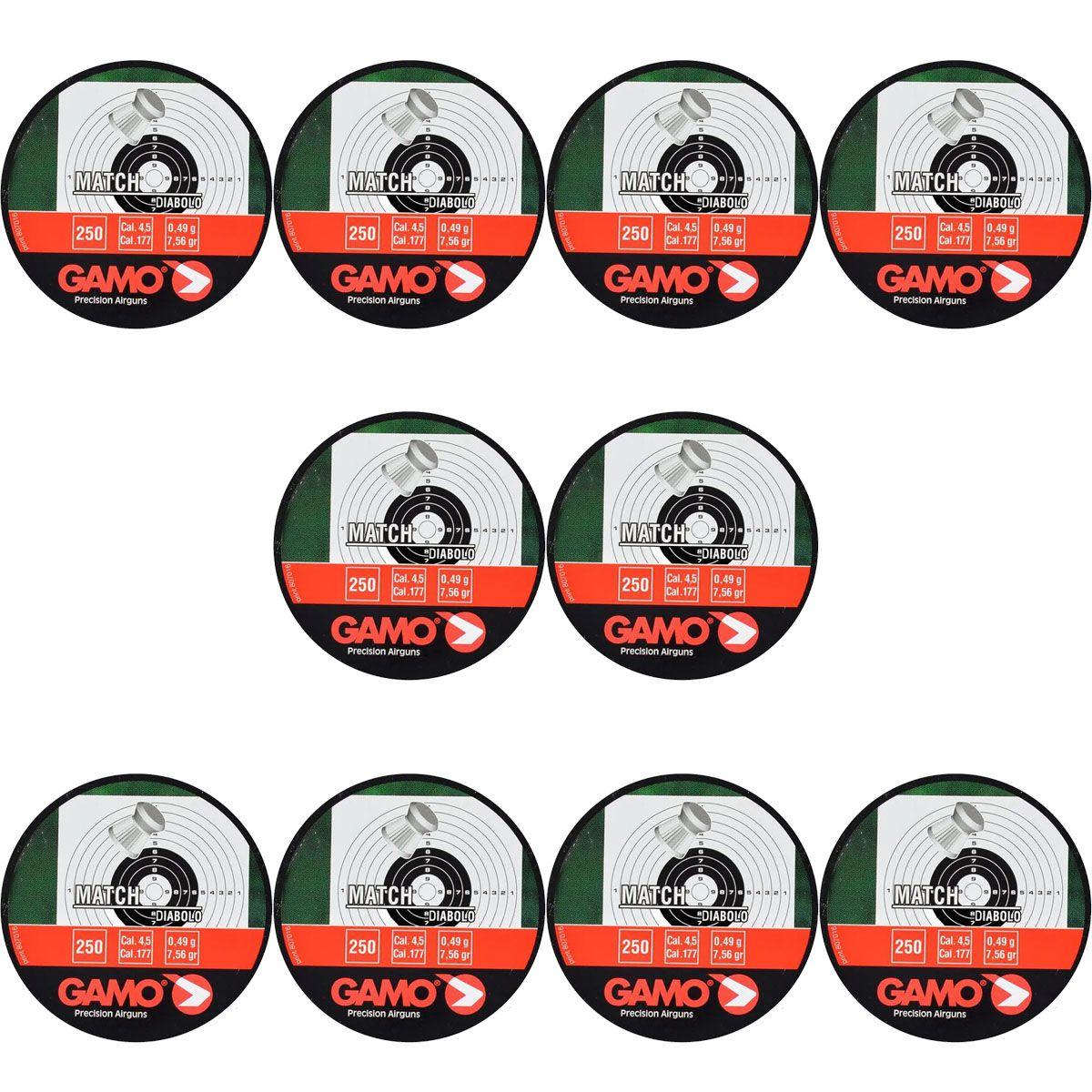Kit 10 Chumbinhos Gamo Match Diabolo 4.5mm 250un.