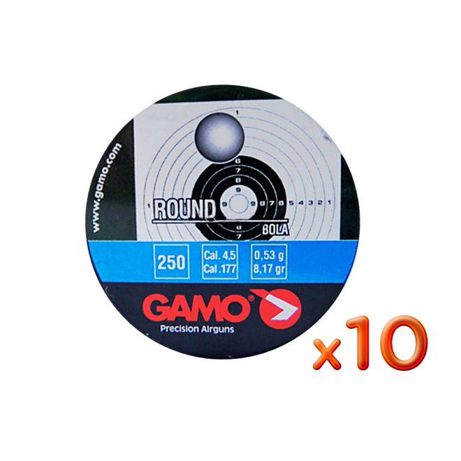 Kit 10 Chumbinhos Gamo Round 4.5mm 250un.