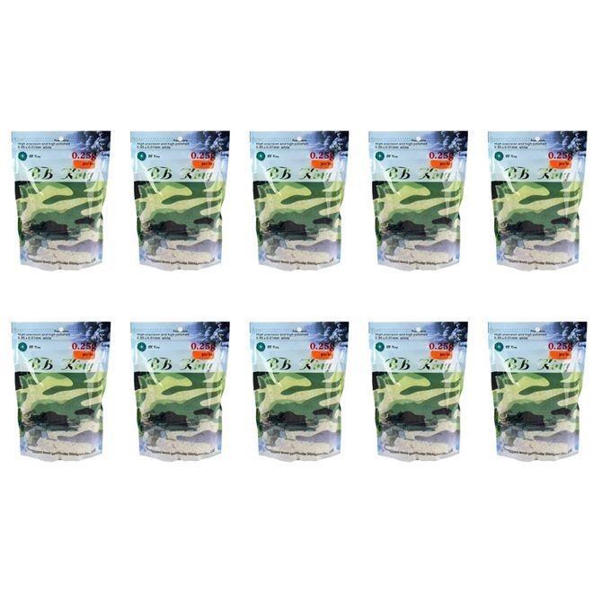 Kit 10 Sacos De Bbs Airsoft Munição Plástica Bb King 0.25g