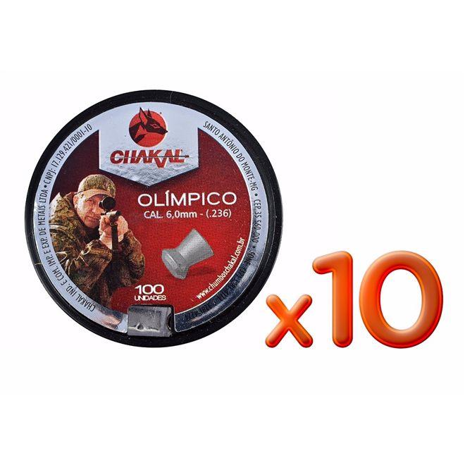 Kit 10 Unidades Chumbinho Chakal Olímpico 6.0mm (100un.)