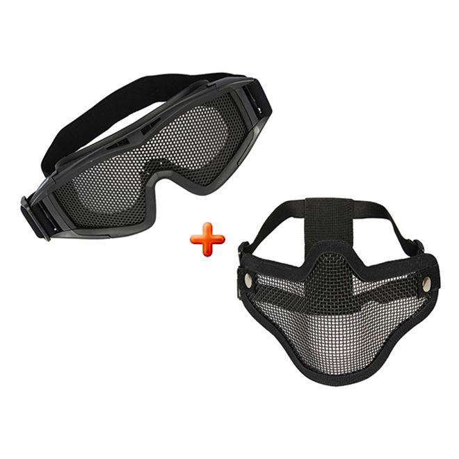 Máscara Airsoft Meia Face Nautika + Óculos Telado Airsoft Nautika