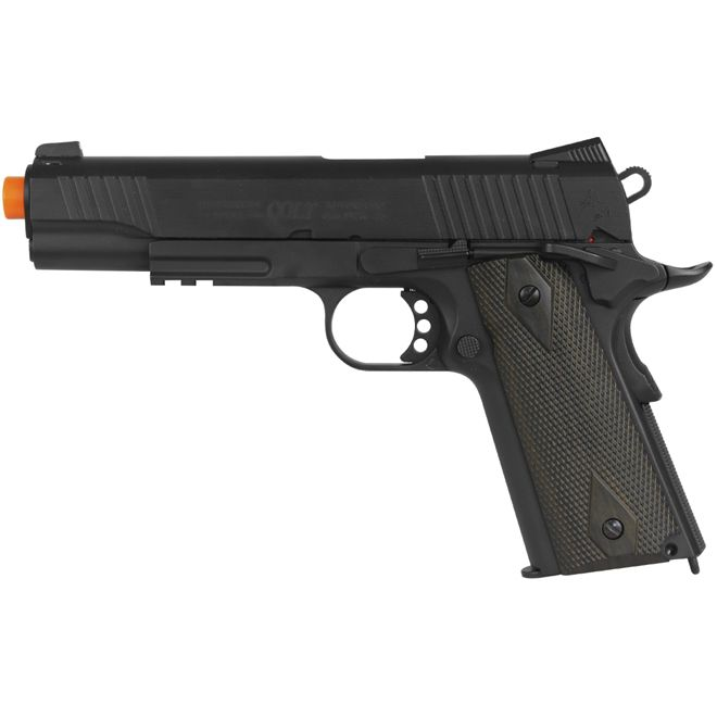 Pistola Airsoft Colt 1911 Rail Black Matt Full Metal GBB CO2 - CYB-180524