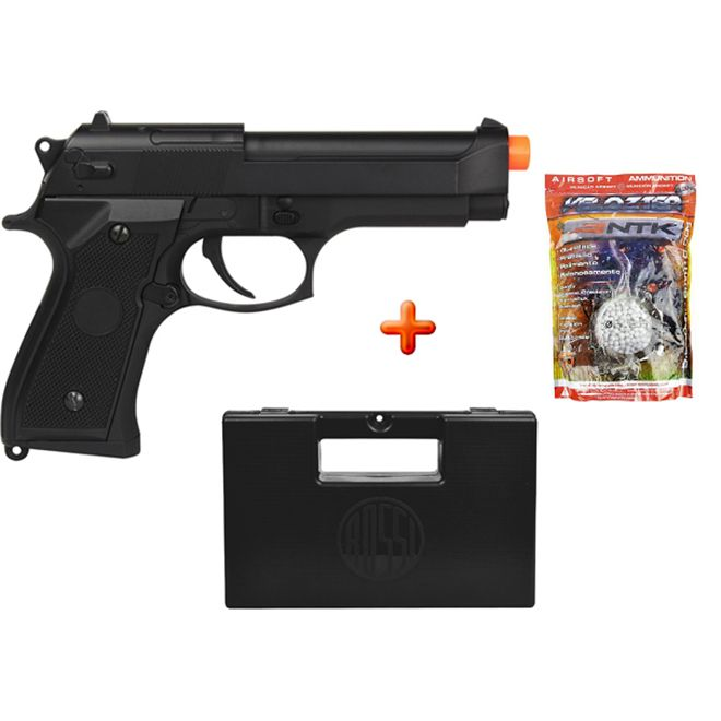 Pistola Airsoft Elétrica Cyma Beretta CM126 Full Metal Bivolt + Case Maleta + BBs Nautika