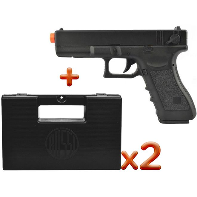 Pistola Airsoft Elétrica Cyma Glock G18C CM030 + 2 Case Rossi