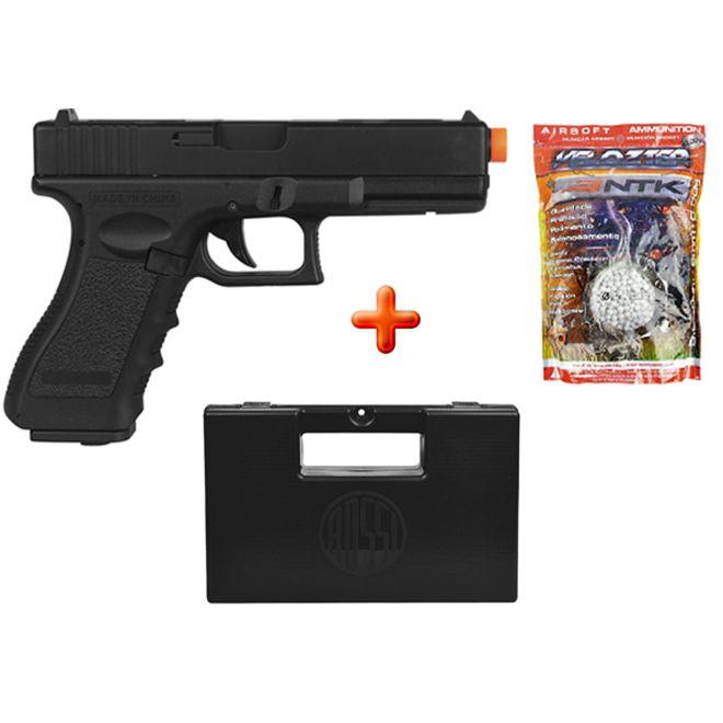 Pistola Airsoft Elétrica Cyma Glock G18C CM030 TAN Semi-metal Bivolt + Case Maleta + BBs Nautika