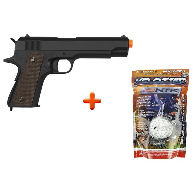 Pistola Airsoft Elétrica Cyma Metal Colt 1911 Bivolt + Bbs Nautika