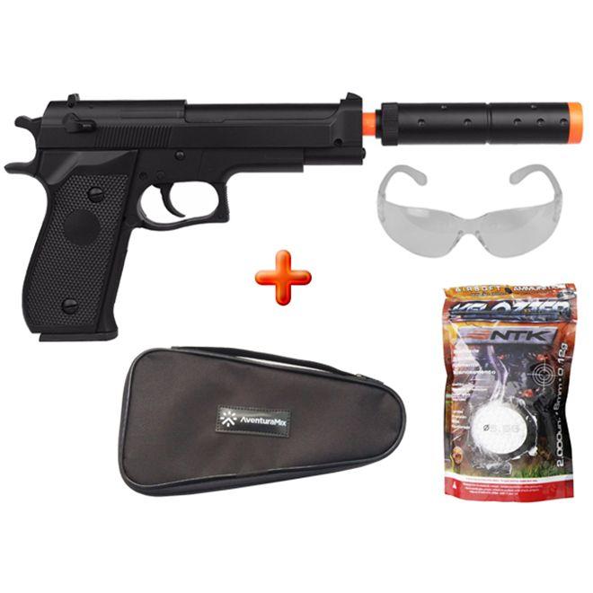 Pistola Airsoft Spring Beretta M22 + Capa Simples + BBs Nautika + Óculos de Proteção