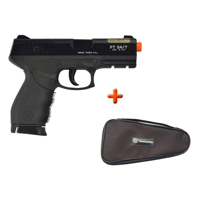 Pistola Airsoft Spring Cybergun Taurus Black 24/7 + Capa Simples
