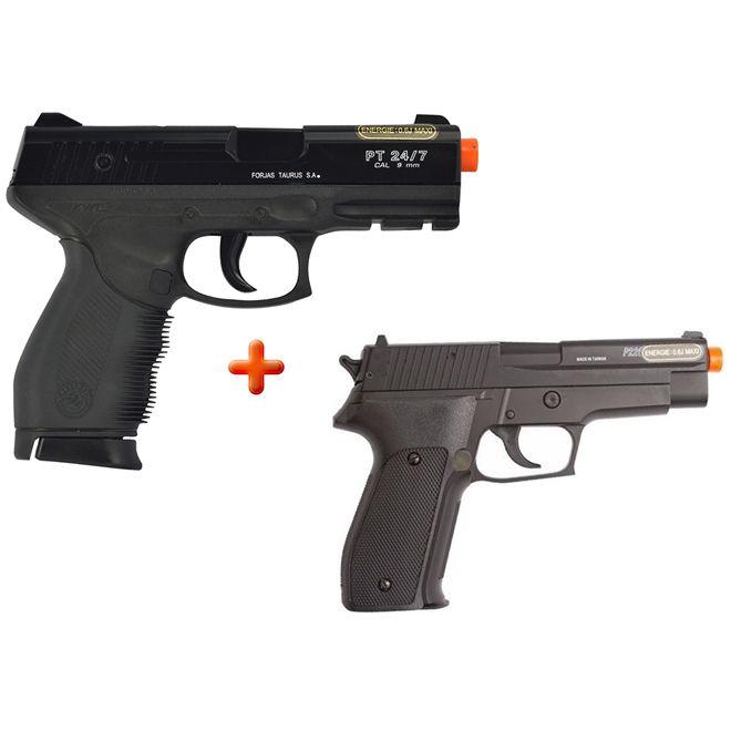 Pistola Airsoft Spring Cybergun Taurus Black 24/7 + Pistola Airsoft Spring Sig Sauer P226