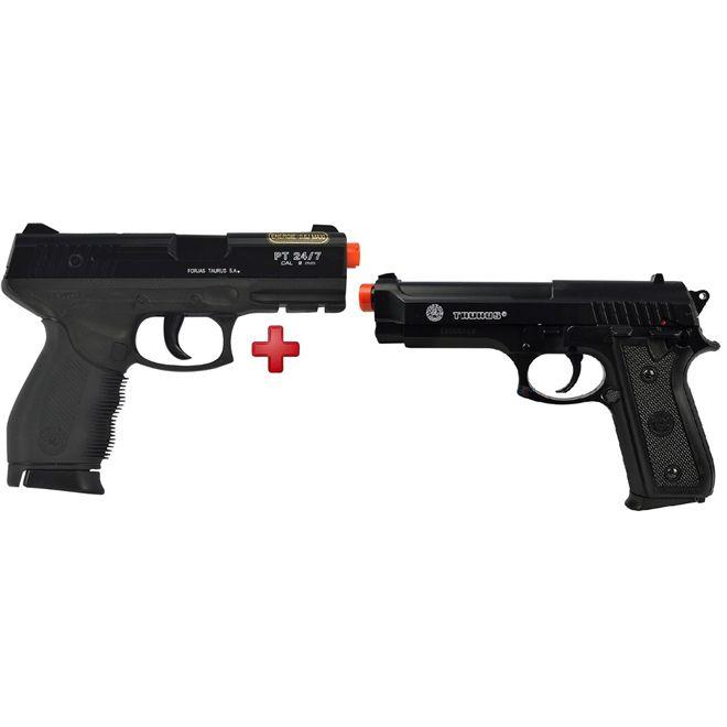 Pistola Airsoft Spring Cybergun Taurus Black 24/7 + Pistola Airsoft Spring Taurus PT92 Slide Metal