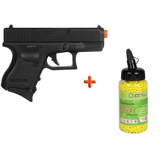 Pistola Airsoft Spring Glock Baby P360 + 2000 Bbs 0.12g
