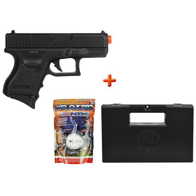 Pistola Airsoft Spring Glock Baby P360 + Case Maleta + BBs Nautika