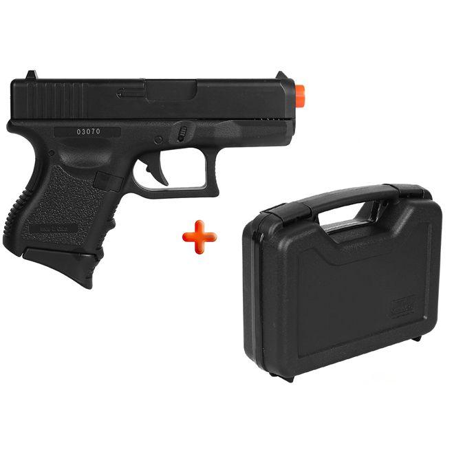 Pistola Airsoft Spring Glock Baby P360 + Case MTM 805-40