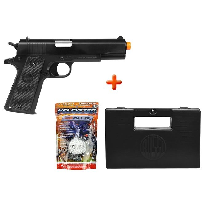 Pistola Airsoft Spring KWC 1911 + Case Maleta + BBs Nautika