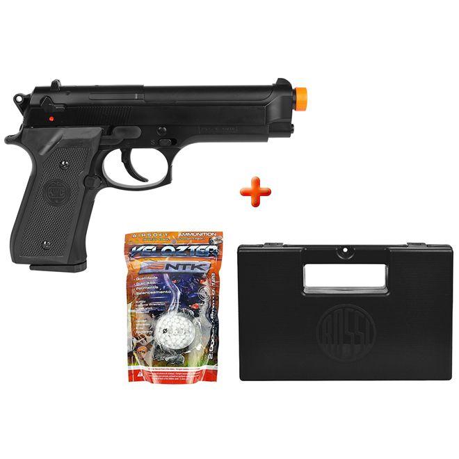 Pistola Airsoft Spring KWC Beretta M92 + Case Maleta + BBs Nautika