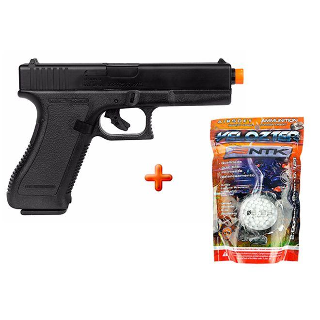 Pistola Airsoft Spring KWC Glock G7 + BBs Nautika Velozter
