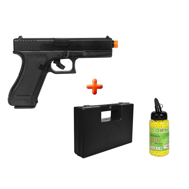 Pistola Airsoft Spring KWC Glock G7 + Case Maleta + BBs Action-x