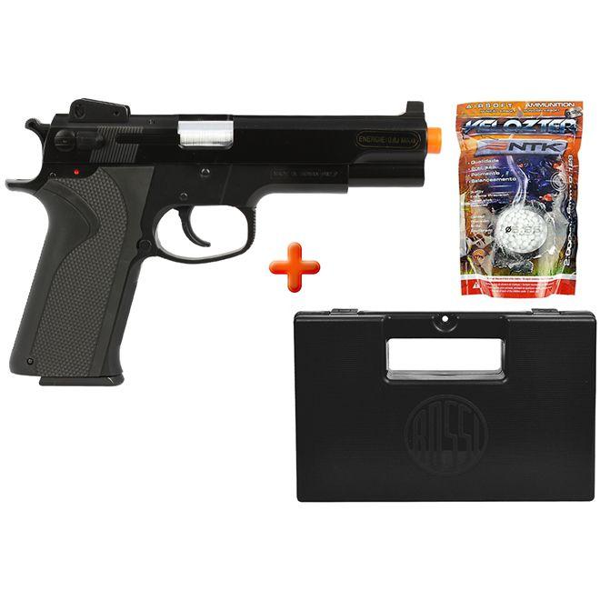Pistola Airsoft Spring KWC M4505 Black + Case Maleta + BBs Nautika