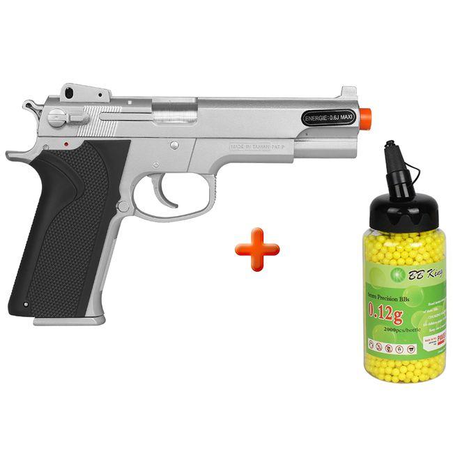 Pistola Airsoft Spring KWC  M4505 Cromada + BBs BB King