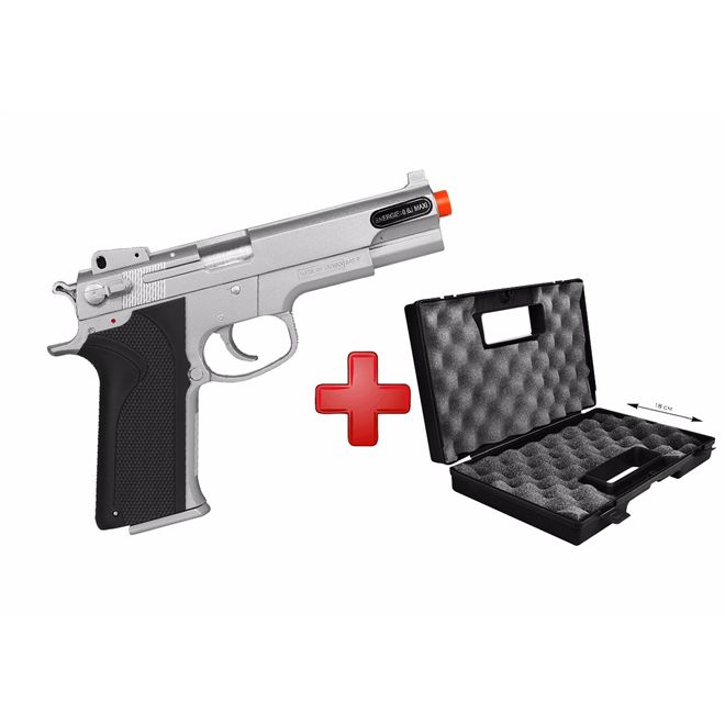 Pistola Airsoft Spring KWC Smith & Wesson M4505 Cromada + Case Maleta