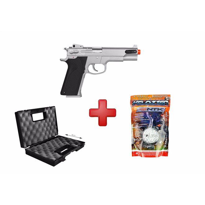 Pistola Airsoft Spring KWC Smith & Wesson M4505 Cromada + Case Maleta + BBs Nautika