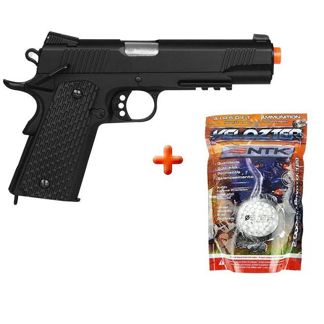 Pistola Airsoft Spring M291 Colt 1911 Full Metal + BBs Velozter 0.12g