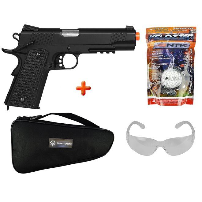 Pistola Airsoft Spring M291 Colt 1911 Full Metal + Capa + BBs Nautika + Óculos de Proteção