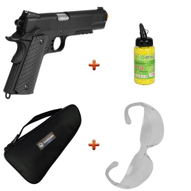 Pistola Airsoft Spring M292 Colt 1911 + Capa + BBs BB King + Óculos de Proteção