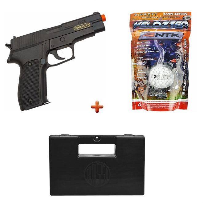 Pistola Airsoft Spring Sig Sauer P226 + Case Maleta + BBs Nautika