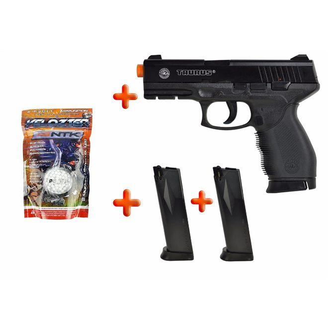 Pistola Airsoft Spring Taurus Cybergun Black 24/7 + BBs Nautika Velozter