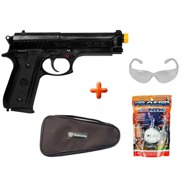 Pistola Airsoft Spring Taurus PT92 + Capa + BBs Nautika + Óculos de Proteção