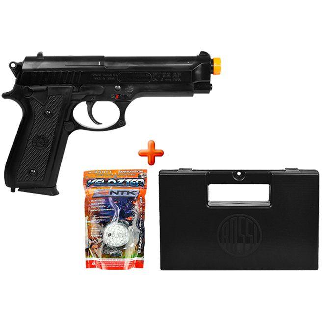 Pistola Airsoft Spring Taurus PT92 + Case Maleta + BBs Nautika