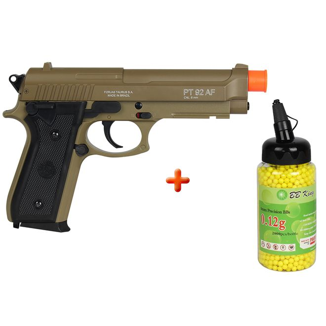 Pistola Airsoft Spring Taurus PT92 Marrom + BBs BB King 0.12g 2000un.