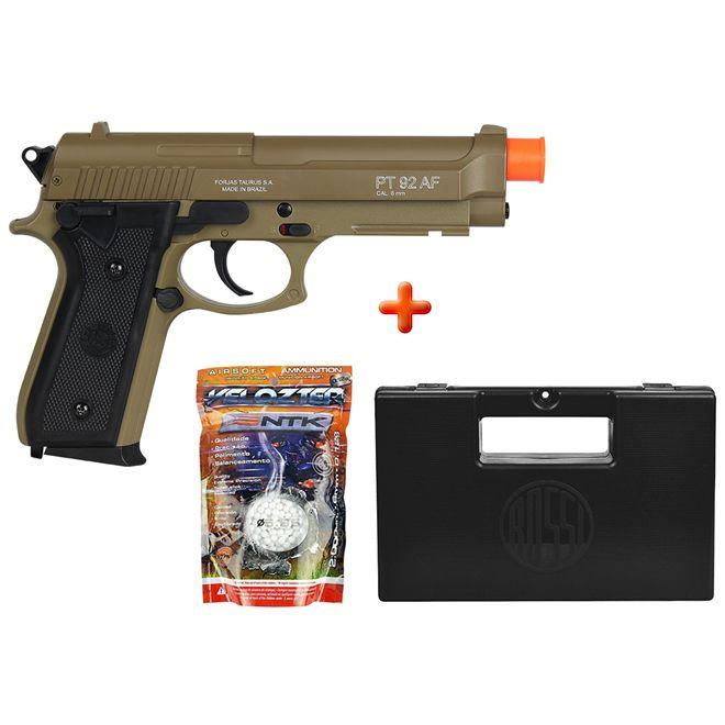 Pistola Airsoft Spring Taurus PT92 Marrom + BBs Nautika + Case Maleta