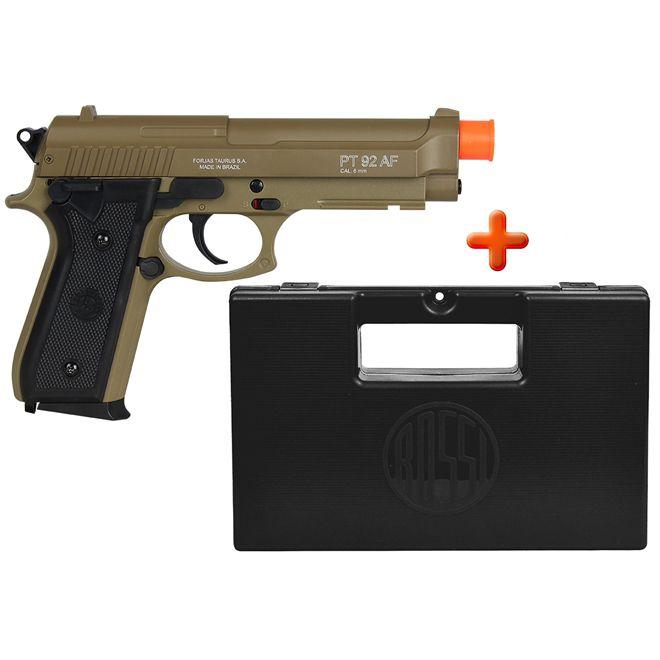 Pistola Airsoft Spring Taurus PT92 Marrom + Case Maleta Preta
