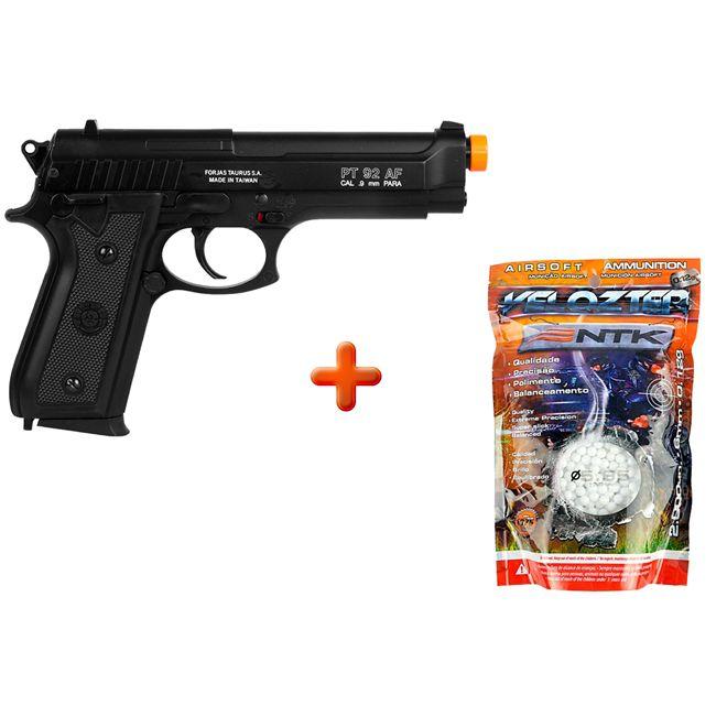 Pistola Airsoft Spring Taurus PT92 Slide Metal + BBs Nautika Velozter