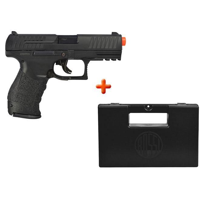 Pistola Airsoft Spring Walther PPQ Slide Metal + Case Maleta