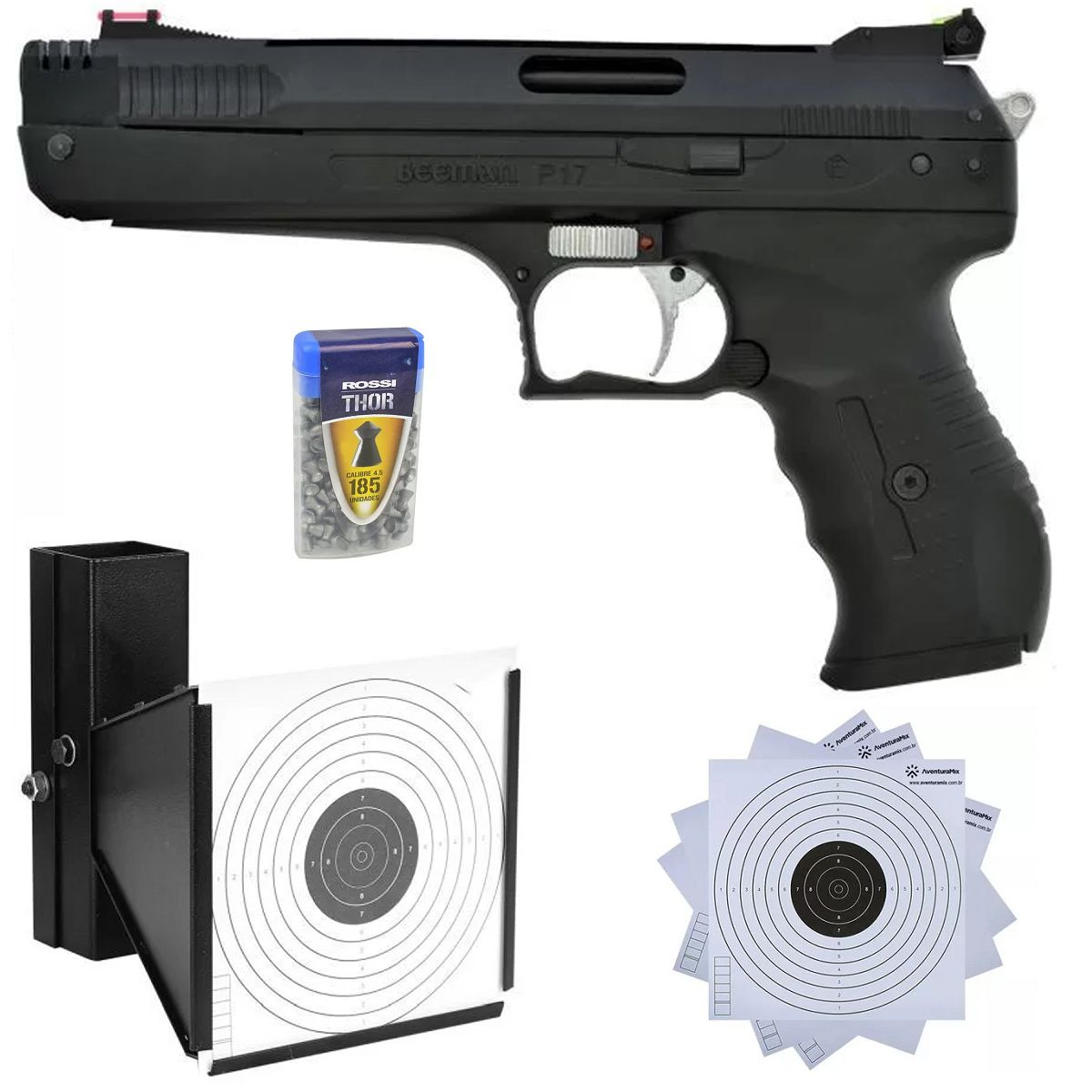 Pistola de Pressão Beeman 2004 P17 4.5mm + Capa Rossi + Alvos de Papel + Chumbinhos + Alvo Coletor