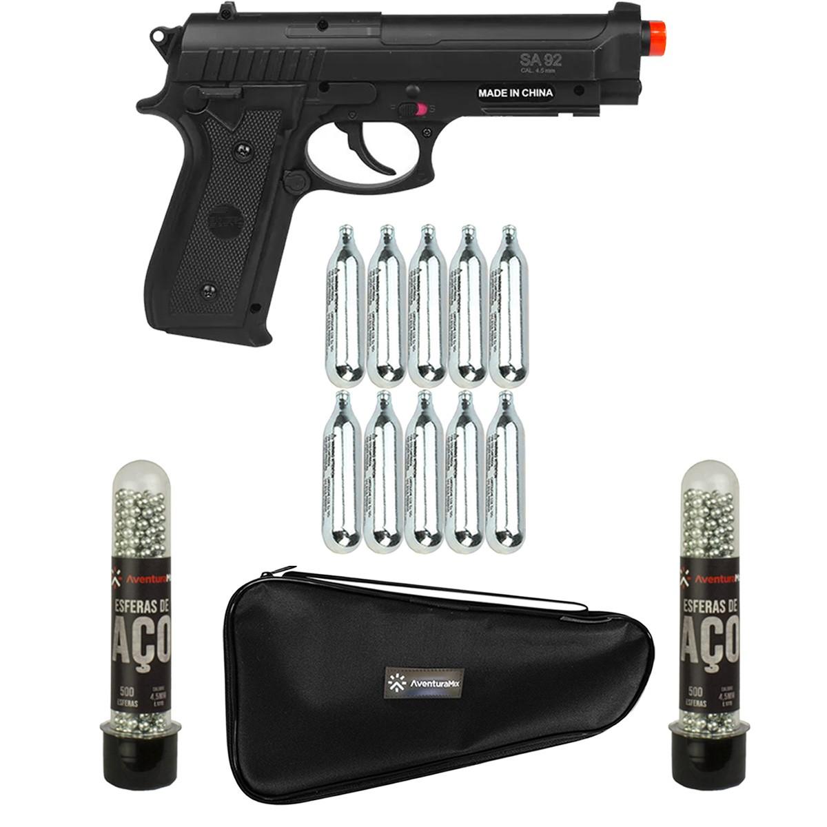 Pistola De Pressão Co2 SA P92 Swiss Arms 4.5mm + 10 Co2 + 1000 Esferas + Capa