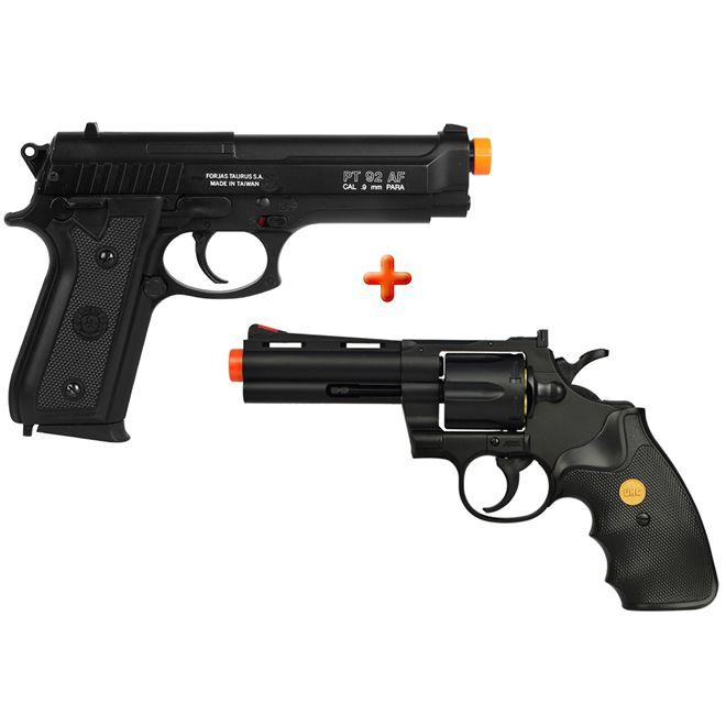 Revólver Airsoft Spring UHC Revolver Gun UA-937 + Pistola Airsoft Taurus PT92
