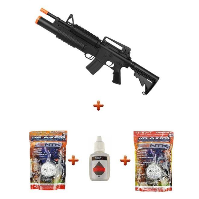 Rifle Airsoft Bivolt/Spring M4A1 Shotgun Lança Granada + Munições + Óleo