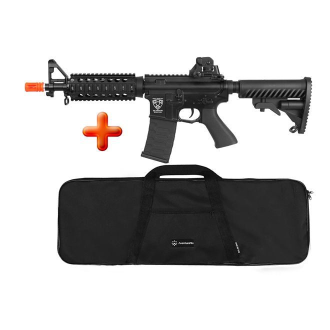 Rifle Airsoft Elétrico APS M4 CQB Blowback Full Metal + BRINDE Capa Simples