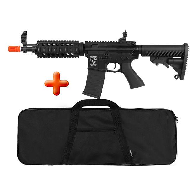 Rifle Airsoft Elétrico APS M4 CQB R Blowback Full Metal + BRINDE Capa Simples