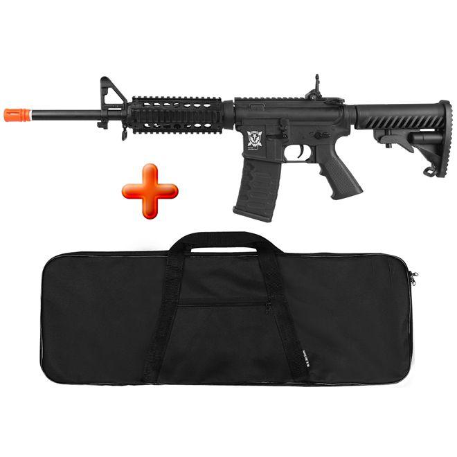 Rifle Airsoft Elétrico APS M4 RIS Kompetitior Blowback + BRINDE Capa Simples