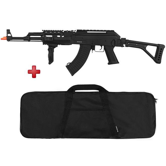 Rifle Airsoft Elétrico Cyma AK-47 Tactical Full Metal Bivolt + BRINDE Capa Simples