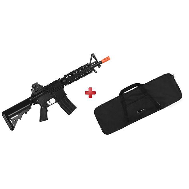 Rifle Airsoft Elétrico Cyma M4A1 RIS CQB Bivolt + BRINDE Capa Simples