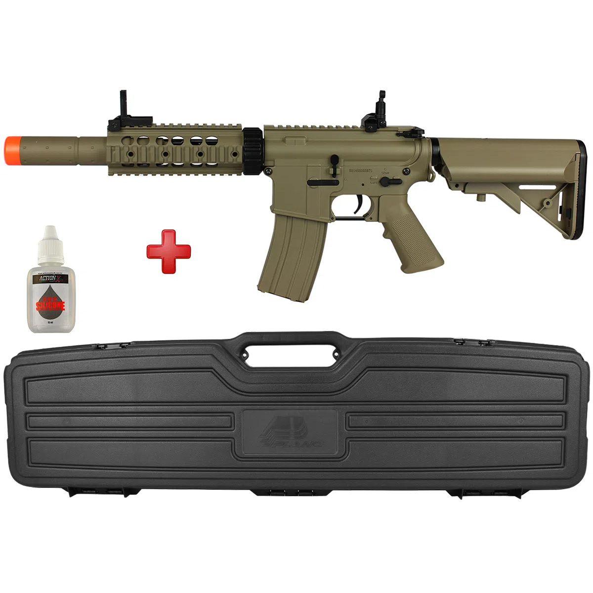 Rifle Airsoft Elétrico Cyma M4A1 TAN Bivolt + Case Plano 10142 + BRINDE Óleo de Silicone