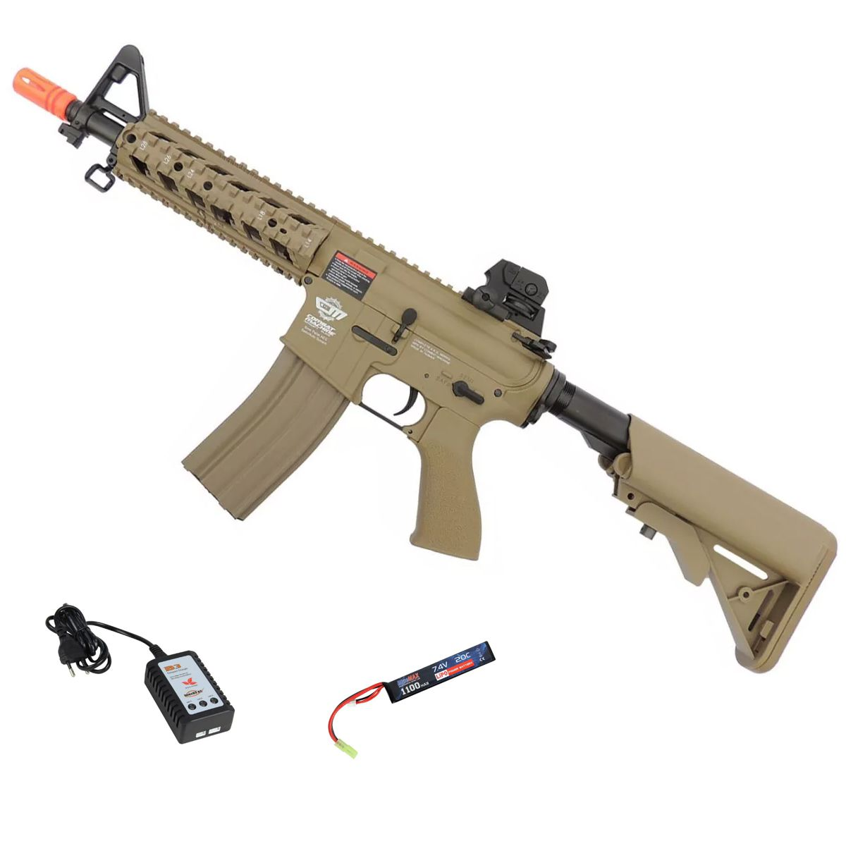 Rifle Airsoft Elétrico G&G CM16 Raider Desert Semi-Metal Lipo Bivolt